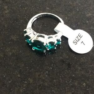 Sterling silver 925 plated simulated gemstone ring